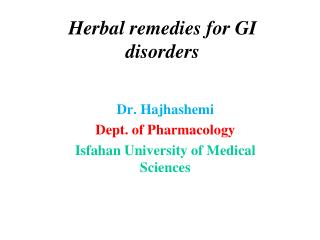 Herbal remedies for GI disorders