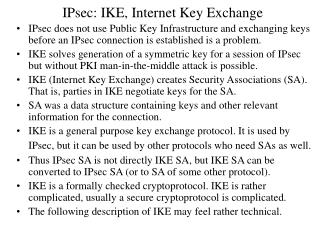 IPsec: IKE, Internet Key Exchange