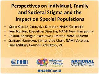 Perspectives on Individual, Family and Societal Stigma and the Impact on Special Populations