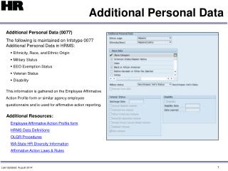 Additional Personal Data