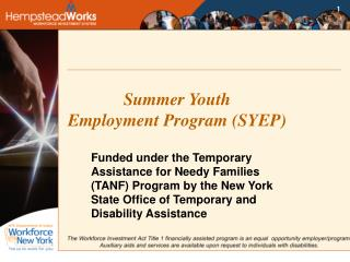 Summer Youth  Employment Program (SYEP)