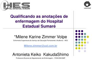 Qualificando as anotações de enfermagem do Hospital Estadual Sumaré
