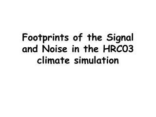 Footprints of the Signal and Noise in the HRC03 climate simulation