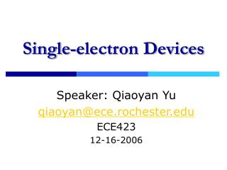 Single-electron Devices
