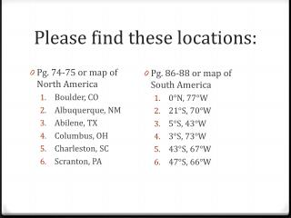 Please find these locations: