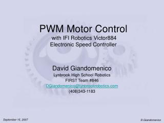 PWM Motor Control  with IFI Robotics Victor884 Electronic Speed Controller