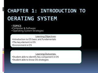 Chapter 1: Introduction to oerating  system