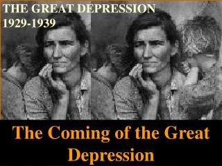 THE GREAT DEPRESSION  1929-1939