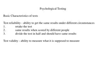 Psychological Testing Basic Characteristics of tests