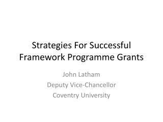 Strategies For Successful Framework Programme Grants