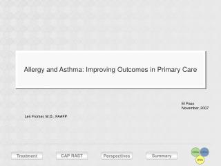Allergy and Asthma: Improving Outcomes in Primary Care