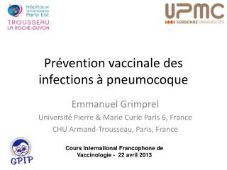 Prévention vaccinale des infections à pneumocoque