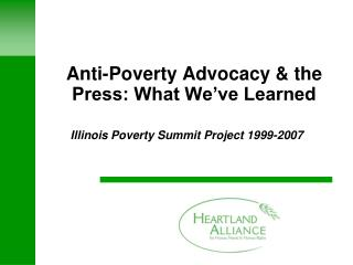 Anti-Poverty Advocacy & the Press: What We've Learned