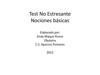 TEST NO ESTRESANTE