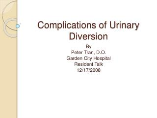 Complications of Urinary Diversion