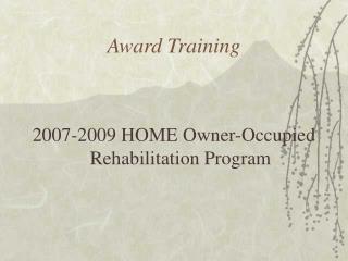 Award Training