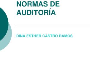 NORMAS DE AUDITORÍA DINA ESTHER CASTRO RAMOS