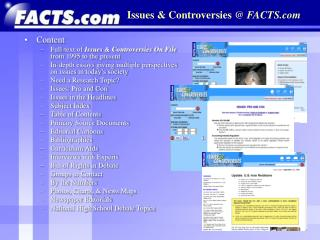 Issues & Controversies  @  FACTS