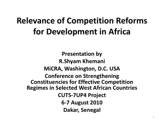 Relevance of Competition Reforms for Development in Africa