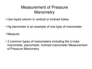 Measurement of Pressure Manometry