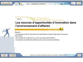 Les sources d'opportunités d'innovation dans  l'environnement d'affaires