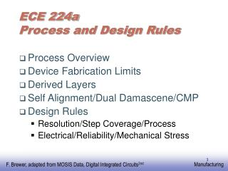 ECE 224a  Process and Design Rules