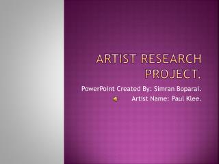 Artist Research project.