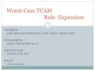 Worst-Case TCAM                              Rule  Expansion