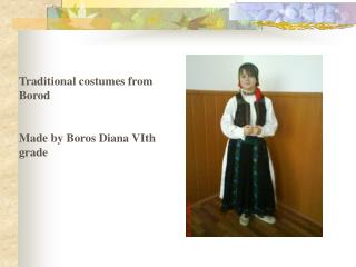 Traditional costumes from Borod Made by Boros Diana VIth grade