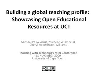 Building a global teaching profile:   Showcasing Open Educational Resources at UCT