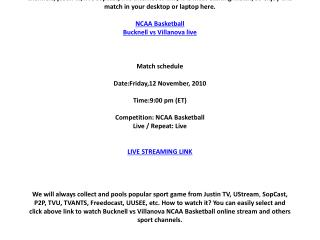 Bucknell vs Villanova live online on your PC