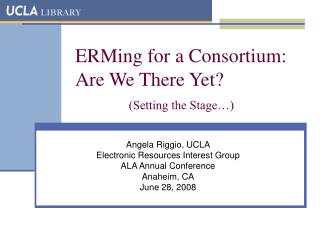 ERMing for a Consortium: Are We There Yet? (Setting the Stage…)