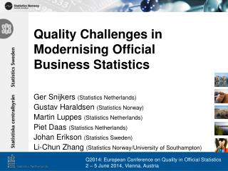 Quality Challenges in Modernising Official Business Statistics