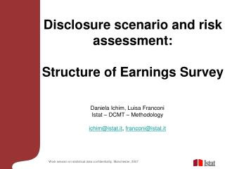 Disclosure scenario and risk assessment:  Structure of Earnings Survey