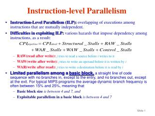 Instruction-level Parallelism