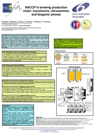 HACCP in brewing production chain: mycotoxins, nitrosamines and biogenic amines