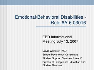 Emotional/Behavioral Disabilities - Rule 6A-6.03016
