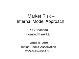 Market Risk – Internal Model Approach