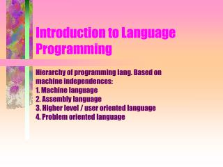 Introduction to Language Programming
