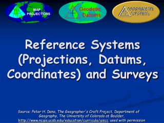 Reference Systems (Projections, Datums,  Coordinates) and Surveys