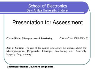 Presentation for Assessment