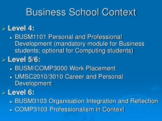 Business School Context