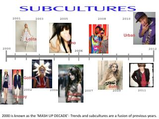 2000 is known as the 'MASH UP DECADE'- Trends and subcultures are a fusion of previous years.