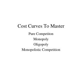 Cost Curves To Master