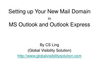 Setting up Your New Mail Domain in MS Outlook and Outlook Express