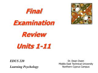 EDUS 220 Learning Psychology
