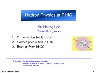 Introduction for Exotics Hadron production in HIC Exotics from RHIC