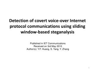 Published in IET Communications Received on 3rd May 2010 Author(s):  Y.F. Huang, S. Tang, Y. Zhang