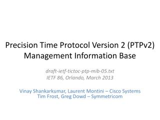Precision Time Protocol Version 2 (PTPv2) Management Information Base