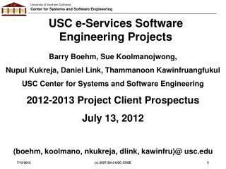 USC e-Services Software Engineering Projects